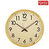 #3: Ajanta Quartz Wall Clock (32 cm x 32 cm x 2 cm, Ivory Dial and Golden Rim)