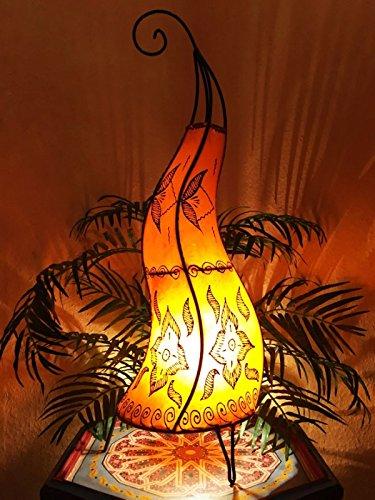 Orientalische Stehlampe Almina Orange 71cm Lederlampe Hennalampe Lampe | Marokkanische Große Stehlampen aus Metall, Lampenschirm aus Leder | Orientalische Dekoration aus Marokko, Farbe Orange