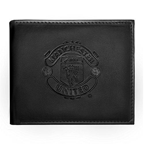 Manchester United FC - Geldbörse mit geprägtem Vereinswappen - Offizielles Merchandise - Schwarz - 11 x 9,5 cm - United Manchester