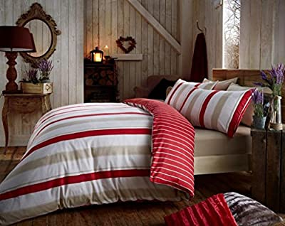 Flannelette Duvet Cover and Pillowcase Set Quilt Bedding Set With Pillow Cases Single Double King Super King Size Printed Check Stripe Cressida Reversible produced by De Lavish - quick delivery from UK.