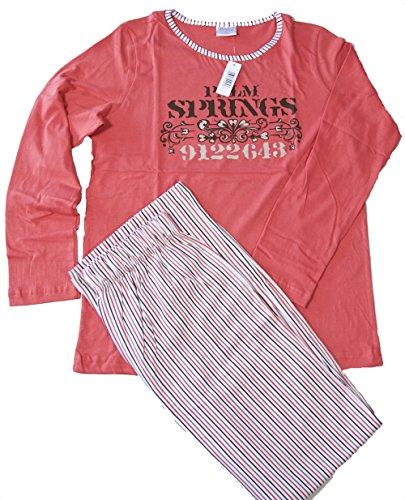 Modischer Pyjama mit langer gestreifter Hose; langer Damen Schlafanzug aus 100% Baumwolle Größe 36/38 bis 48/50 Anthrazit