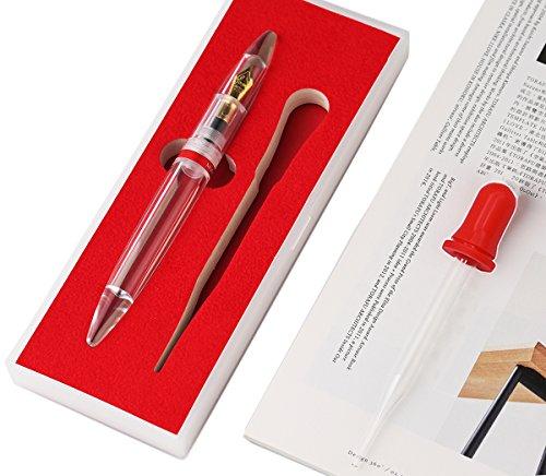 Eye Dropper Füllung Füllfederhalter, extra feine Feder, transparent groß Colorful Tinte Aufbewahrung von Pen Geschenk-Box Set