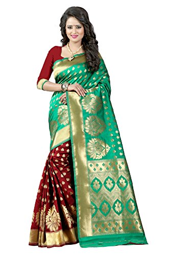 Traditional Ethnic Tassar Silk Banarasi Sarees With Unstitched Blouse Design, Dark Green...