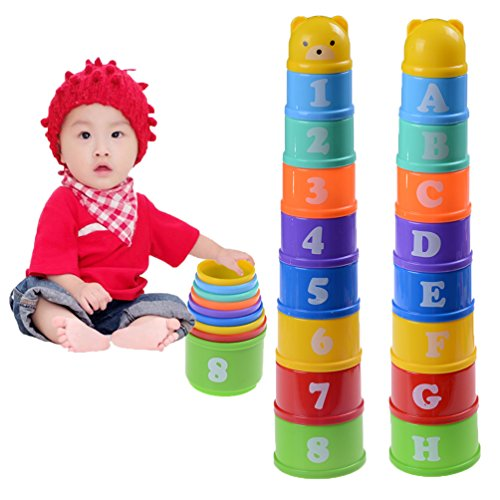 WuliRose 9 Pcs Stacking Cups with Numbers Letters & Animals Early Educational Stacker Toys for Toddlers Babies Kids