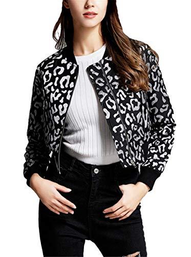IWFREE Damen Bomberjacke Bomber Jacke Piloten Elegant Bedruckte Baseball Mantel Outwear Cardigan Coat Kurz Jacke mit Stehkragen...