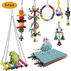 Juguetes para pájaros Colgante Columpio Trituración Masticar Perchas Juguete de Loros para Jaula Conures Periquitos Cockatiels Guacamayos Pinzones Mynah Budgies (8-Pack)