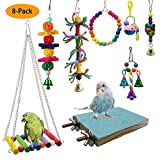 8-Pack Bird Toys Hanging Swing Shredding Chewing Perches Parrot Toy for Cage Conures Parakeets Cockatiels Macaws Finches Mynah Budgies (8-Pack)