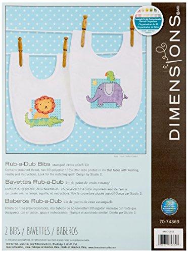 Dimensiones Needlecrafts 70–74369rub-A-Dub baberos Stamped Cross Stitch Kit