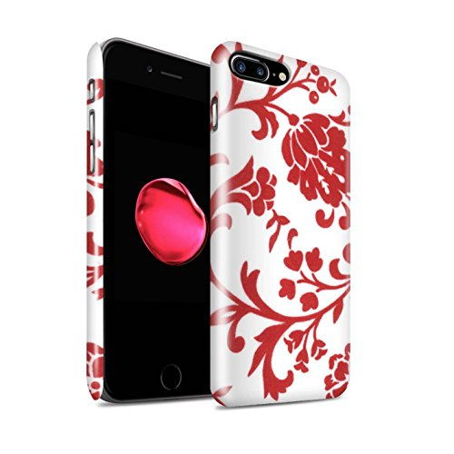 STUFF4 Glanz Snap-On Hülle / Case für Apple iPhone 8 Plus / Pack (5 Pack) / Blumenmuster Kollektion Rote Blume