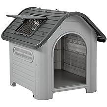 [en.casa] Caseta para perros de plástico - gris / negro - PVC