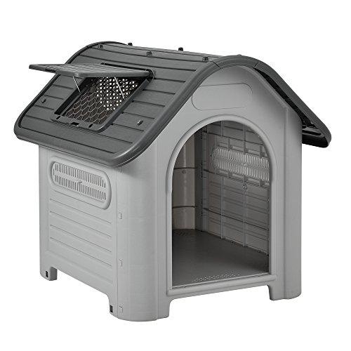 [en.casa]® Hundehütte mit Dachluke - 87 x