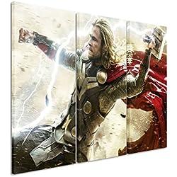 Diseño de 3 teilig Thor_American_Superhero_ 3 x 90 x 40 cm (total de 120 x 90 cm) con diseño de arte palästinenser _execution en lienzo DE como Cuadro en bastidor