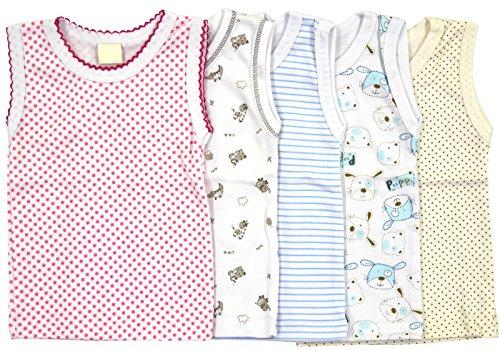5-tlg.Set Unterhemd für Mädchen und Junge Bunt Größe 80-116 (86, Set für Mädchen) - Unterhemd Baby
