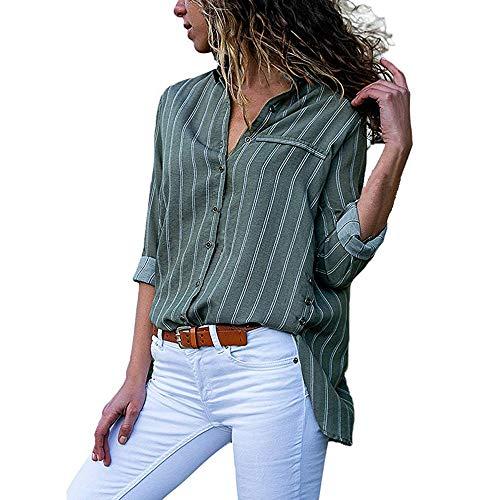 (iHENGH Vorweihnachtliche Karnevalsaktion Damen Herbst Winter Bequem Lässig Mode Frauen Casual Langarm Stripe Button T Shirts Tops Bluse(S,Grün))