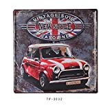 TreasureTrade Union Jack Mini Car Red Blue and White Creative Retro Iron Art Metal Drawing Iron Sheet Picture Wall Decor For Living Room, Coffee House, Pub. (12x12inch)