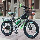 J.SF Kinderfahrrad High-Carbon-Stahl-Frame Fahrrad Mountainbike 6-12 Jahre altes Baby-Walker Farbe Studentenwagen,greenshifting,20inches