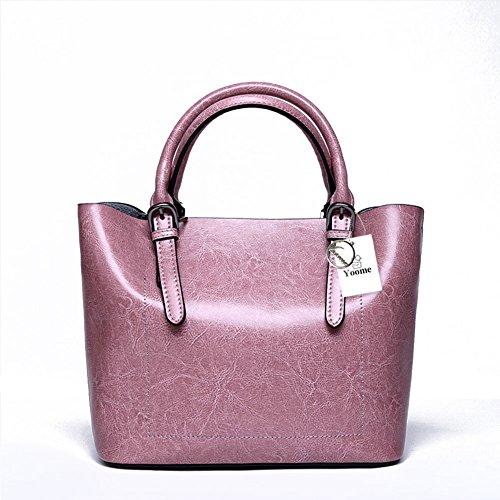 Yoome Designer Borsa a tracolla in vera pelle Borsa a mano in vacchetta Borsa a tracolla valigetta - Marrone Rosa