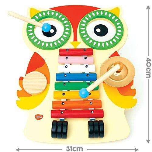 Holz-Musikinstrument für Kinder mit Xylophon, Guiro, 2Trommeln, Becken und 2Schlägeln (Neuware mit kleinen Lack- und Verpackungsschäden)