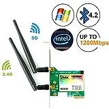 Ubit 1167Mbps Bluetooth4.2 WiFi Card, 802.11 AC Dual Band Scheda di Rete Wireless PCIE WiFi Gigabit Adapter,Scheda di Rete Wireless Pci-e Wi-Fi Adattatore per PC (WIE8260)