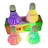 Ndier LED Badminton volano, Set con 4PCS Colorati Ruote Volani Chiaro per Le attività Sportive, Rosso Verde Blu e colorato