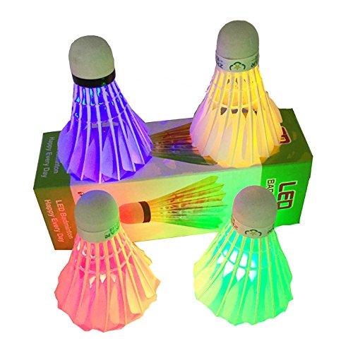 Ndier LED Badminton, Set mit 4 farbigen Pcs Schwungrädern Federball Hell für sportliche Aktivitäten, rot grün blau und bunt