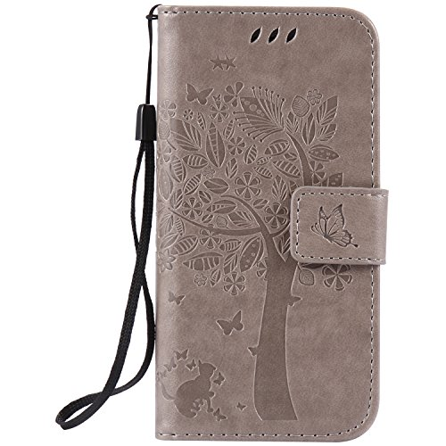 BONROY® Magnetic Flip Cover for Apple iPhone 7,Cat and tree theme series Embossing Wallet Case with Hand Strap for Apple iPhone 7, Premium PU Leather Folio Style Retro PU Leather Wallet Flip with Card Slots and and Stand Function Case Cover for Apple iPhone 7 Test