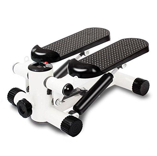 Kleo Sports Stepper avec extenseur corde - Affichage LED Appareil - Mini-stepper Fitness Noir et Blanc