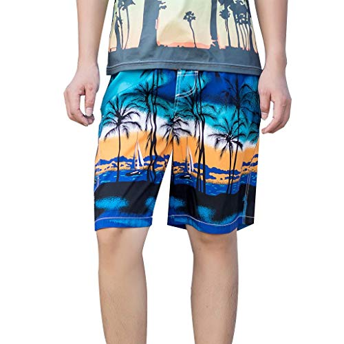 TIFIY Herren Badeshorts Atmungsaktive Hawaiian Trunks Quick Dry Strand Surfen Jungen Badeshorts Schwimmen Kurze Hose(Blau,L)