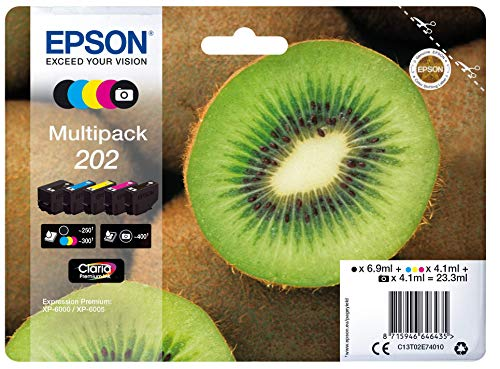 Epson Original 202 Tinte Kiwi (XP-6000 XP-6005 XP-6100 XP-6105, Amazon Dash Replenishment-fähig) Multipack 5-farbig