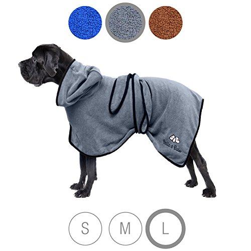 Bella & Balu Hundebademantel aus Mikrofaser – Saugfähiger Hunde Bademantel zum Trocknen nach dem Baden, Schwimmen oder Spaziergang im Regen (XL, Grau)