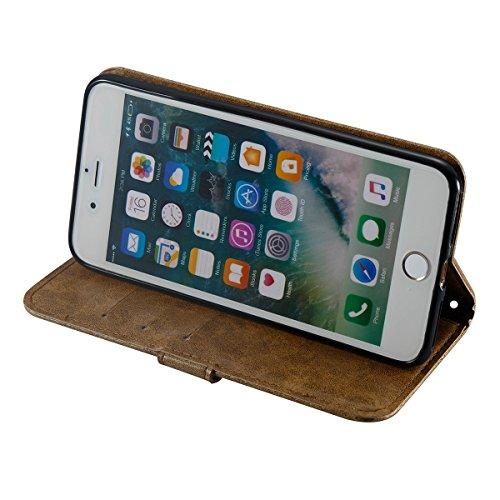 iPhone 7Plus/iPhone 8Plus Hülle,Fodlon® Mode Totenkopf Geprägt mit Karte Schlitze Telefon Schutzhülle -Grau Kaffee