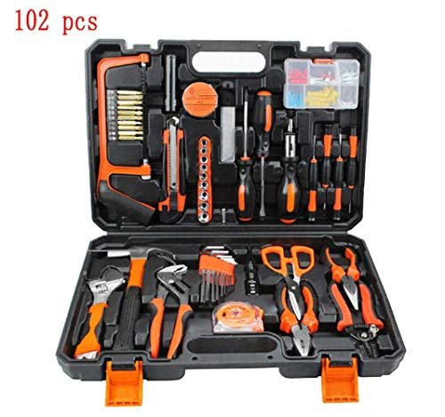Feeyond Multifunktionale Hardware-Toolbox Chargeable Woodworking Power Tool Combination Set Household Manual Tool Kit Schraubenzieher Elektrische Bohrzange Test Bleistift 102PCS