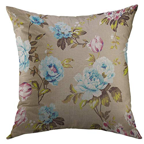 Decorative Throw Pillow Cover for Couch Sofa,Blue Bouquet Shabby Chic Vintage Roses Tulips Forget Me Nots Classic Chintz Floral Colorful Abstract Home Decor Pillow Case 18x18 inch Blue Rose Chintz