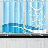 JOCHUAN Resumen Azul Burbujas Cocina Cortinas Cortinas de Ventana gradas para cafetería, baño, lavandería, Sala de Estar Dormitorio 26 X 39 Pulgadas 2 Piezas