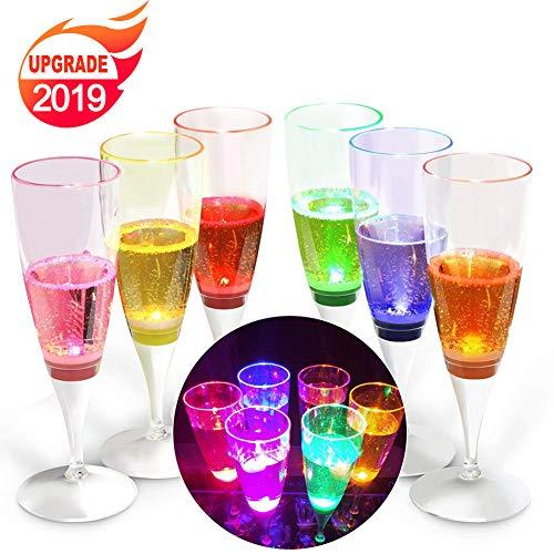 YANX 6 Stück LED Sektgläser,Leuchtende Weingläser,Kunststoff Sektkelche,durch Flüssigkeit Aktivierbar Champagnergläser für Geburtstagsfeier und Hochzeit