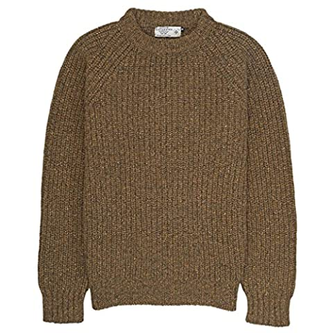 Wool Alpaca Fisherman Rib Crew Neck Sweater-Moss Green-Medium