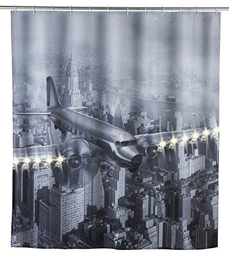 Wenko 22495100 LED Duschvorhang Old Plane - waschbar, mit 12 Duschvorhangringen, Polyester, Mehrfarbig