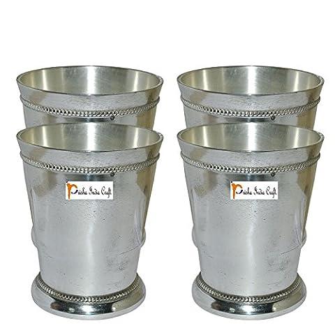Set of 4 - Prisha India Craft ® Beaded Silver Mint Julep Cup - 10 oz Beaded 4