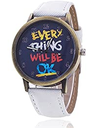 Unisex reloj de pulsera Everything will be OK dígitos Alt Dorado jeansband Blanco