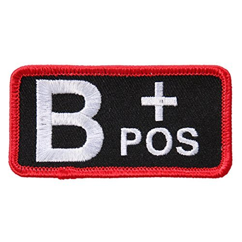 "Hot Leathers, BLOOD TYPE B POS, High Thread Embroidered Iron-On / Saw-On, Heat Sealed Backing B+ Positive Rayon PATCH toppa - 3"" x 2"""