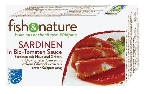 fish & nature Sardinen in Bio Tomatensauce MSC, 5er Pack (5 x 118 g)