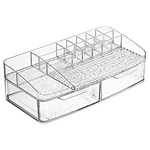 interdesign rain kosmetik organizer schminkaufbewahrung mit vielen f chern und zwei schubladen. Black Bedroom Furniture Sets. Home Design Ideas