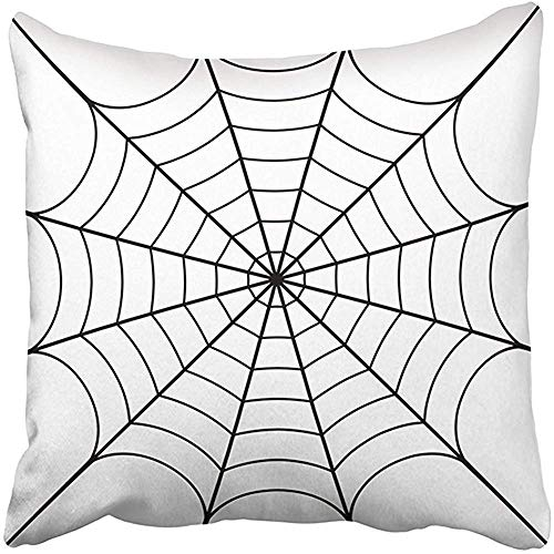 CHSUNHEY Dekor Kissenbez¨¹ge Cushion Cover Throw Pillow Cover 18X18 Inch Polyester Black Spider Cobweb White Spiderweb Halloween Net Haloween Network Tattoo Bug Decorative Pillowcase Two Sides ()