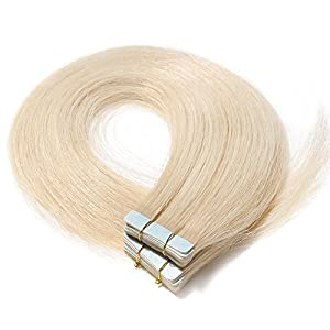 Tape in Hair Extensions Human Hair Full Head Straight Skin Weft Real Remy Hair Extension (14 inches 40g, 20pcs/set, 60 Platinum Blonde)