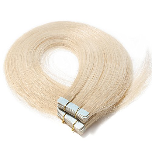 40-55cm extension capelli veri adesive 20 fasce 50g/set 100% remy human hair - tape in hair extension allungamento con biadesivo (45cm #60 biondo platino)