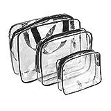 3pcs Set Borsa cosmetici trasparente,impermeabile da viaggio sacchetto di immagazzinaggio toilette con maniglia superiore per uomo e donna