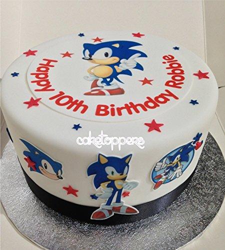 bar Sonic The Hedgehog Zuckerguss Kuchen Topper Jungen Geburtstag ()