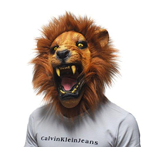 pf Maske Stützen Angry Lion Kopf Masken Tier Voll Latex Maskerade Geburtstagsfeier Gesicht Maske Fancy Dress (Beängstigend Bild Für Halloween)