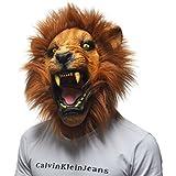 OULII Disfrazarse de adultos León enojado de Halloween Props cabeza máscaras Latex Animal completo cumpleaños fiesta cara máscara Halloween disfraces
