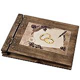 dickes Hochzeitsalbum Holz mit 50 schwarzen Seiten 300g Karton Holzfotoalbum Hochzeitsmotiv